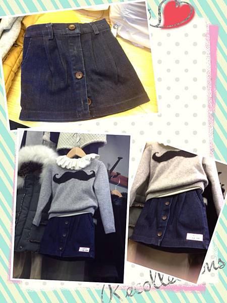 腰伸縮排釦牛仔裙(NTD680)