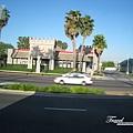 美國Day2上午(13)-在車上照美國的街景,美國的burger king佔地還真廣,但美國就是地大,每棟建築物都很有特色且大!