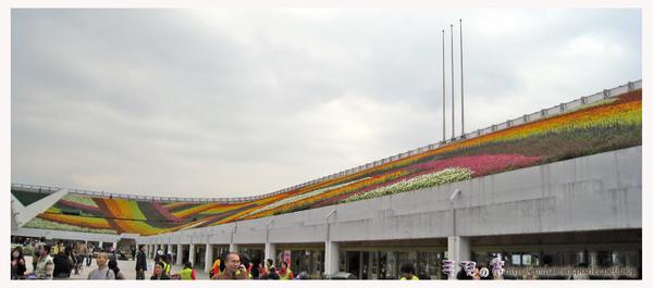 圓山公園區-爭艷館旁的商店屋頂花海-七道彩虹