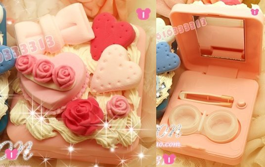 01款-正方型【奶油玫瑰花園-粉紅色】隱形眼鏡清洗機$450