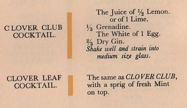 P.46-008 The Savoy Cocktail Book Clover Club recipe