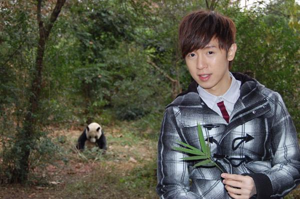 阿鑌興奮看見大貓熊