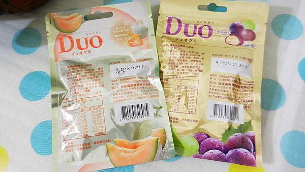 台灣森永製菓-DUO嘟歐雙層QQ軟糖(葡萄+夕張哈蜜瓜) (2).JPG
