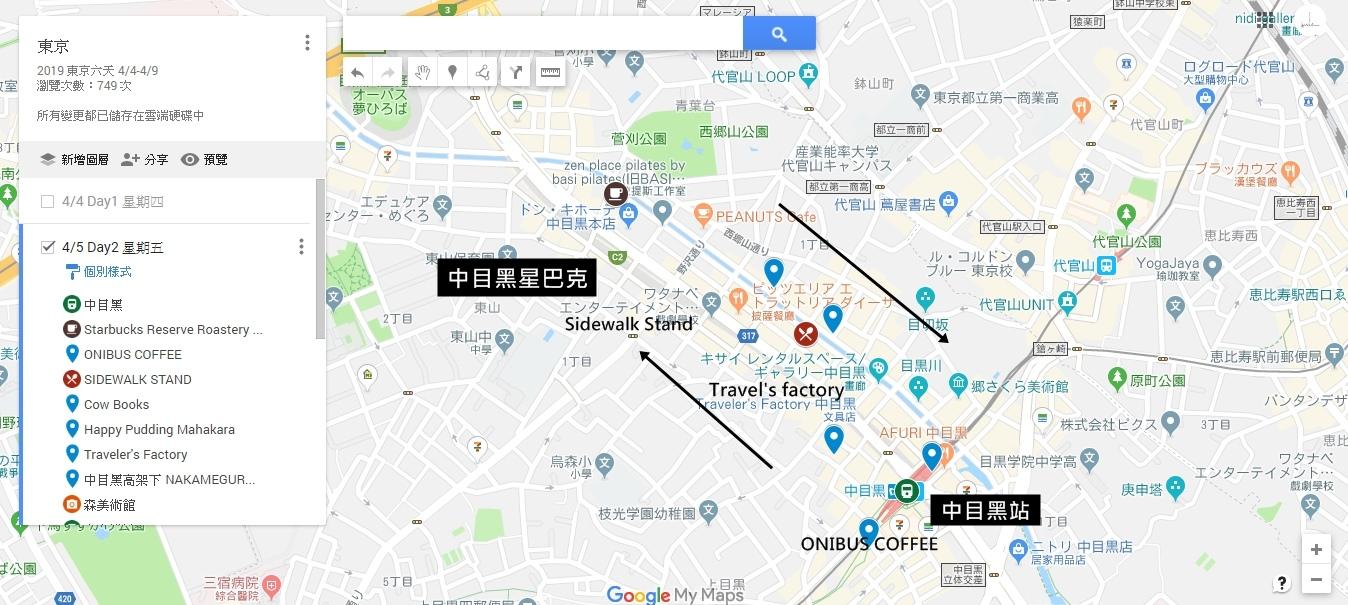 中目黑 map