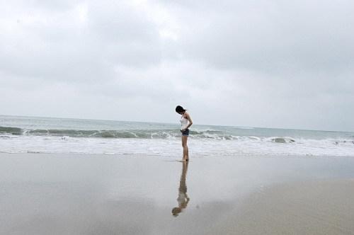 到了海邊散散步~