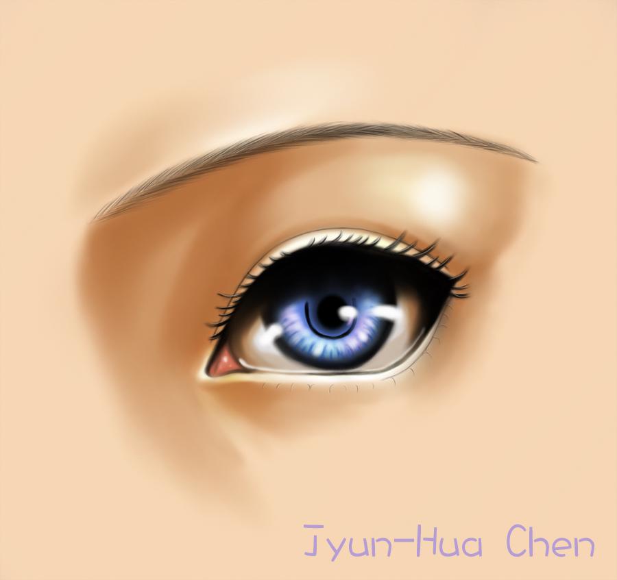 女生眼睛上色