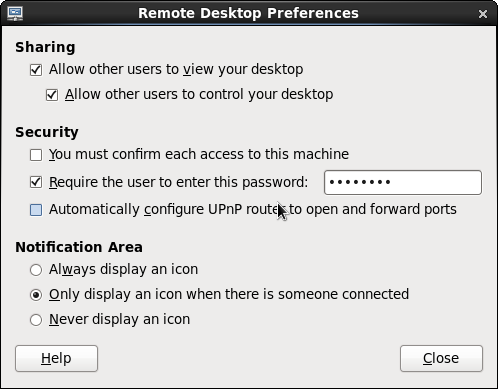 Screenshot-Remote Desktop Preferences