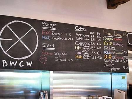 BWCW餐牌