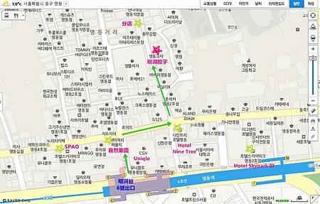 明洞餃子路線地圖