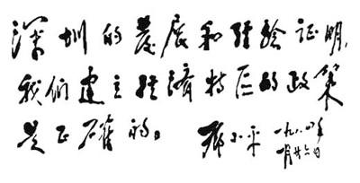 鄧小平為深圳特區題詞