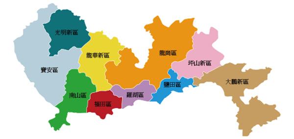 深圳行政區域圖