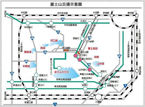 富士山交通示意圖