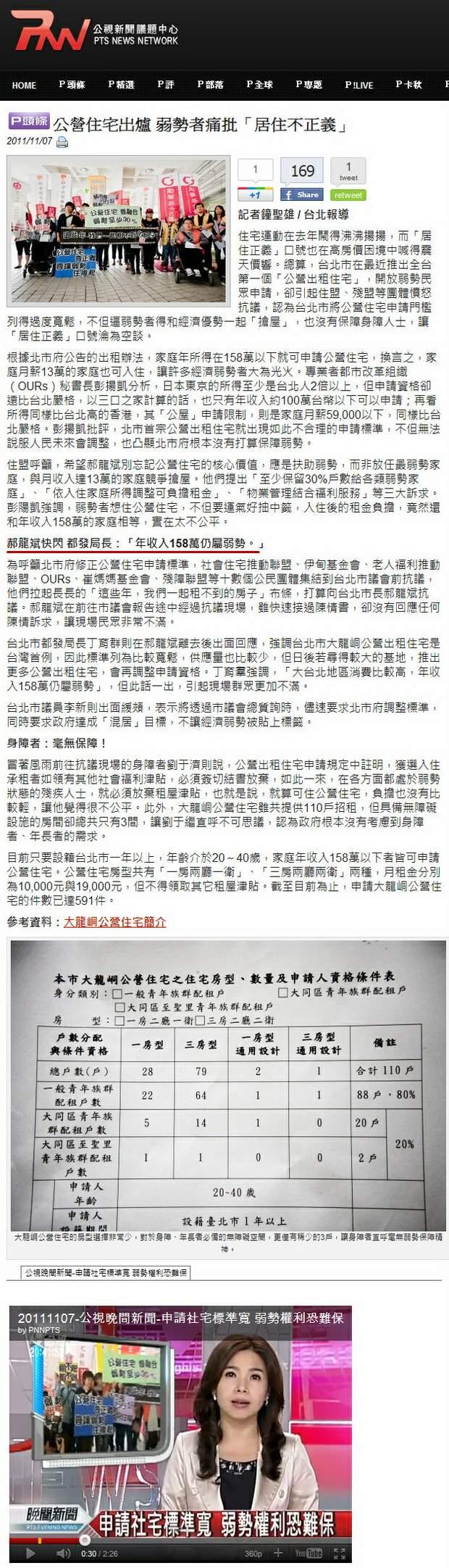 公營住宅出爐 弱勢者痛批「居住不正義」-2011.11.07.jpg