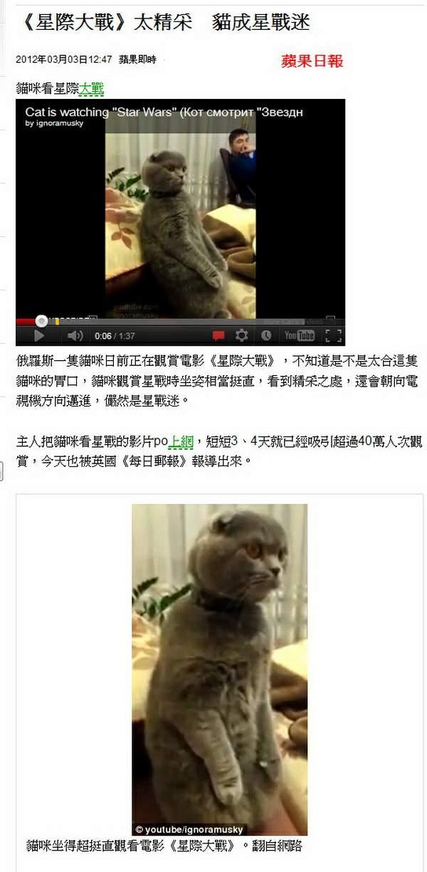 《星際大戰》太精采 貓成星戰迷-2012.03.03