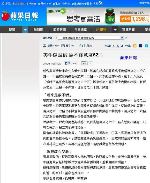 美牛傷誠信 馬不滿意度62%-2012.03.12