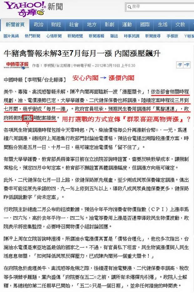 牛豬禽警報未解3至7月每月一漲 內閣漲壓飆升-2012.03.19