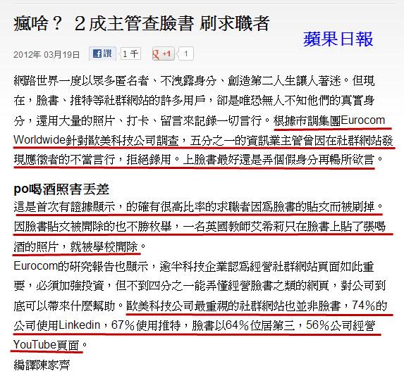 瘋啥? 2成主管查臉書 刷求職者-2012.03.19