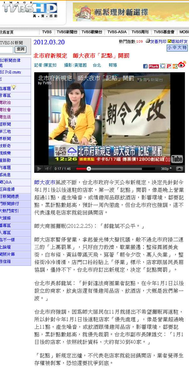 北市府新規定 師大夜市「記點」開罰-2012.03.20