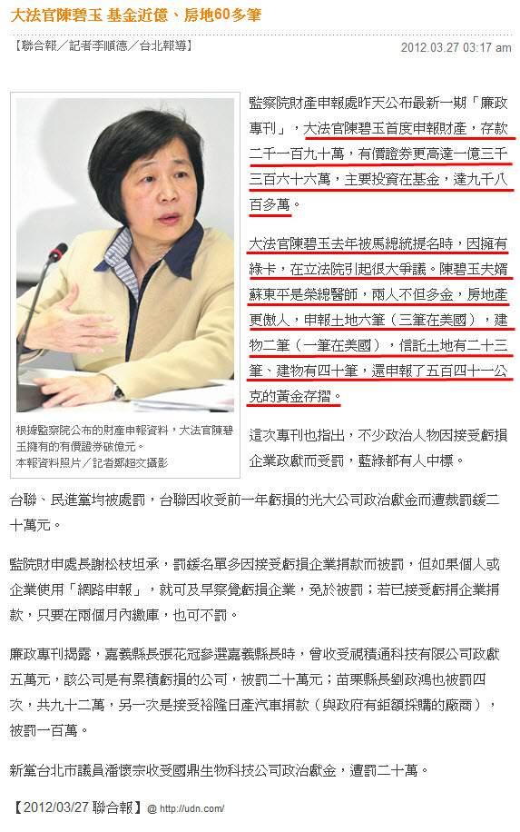 大法官陳碧玉 基金近億、房地60多筆-2012.03.27