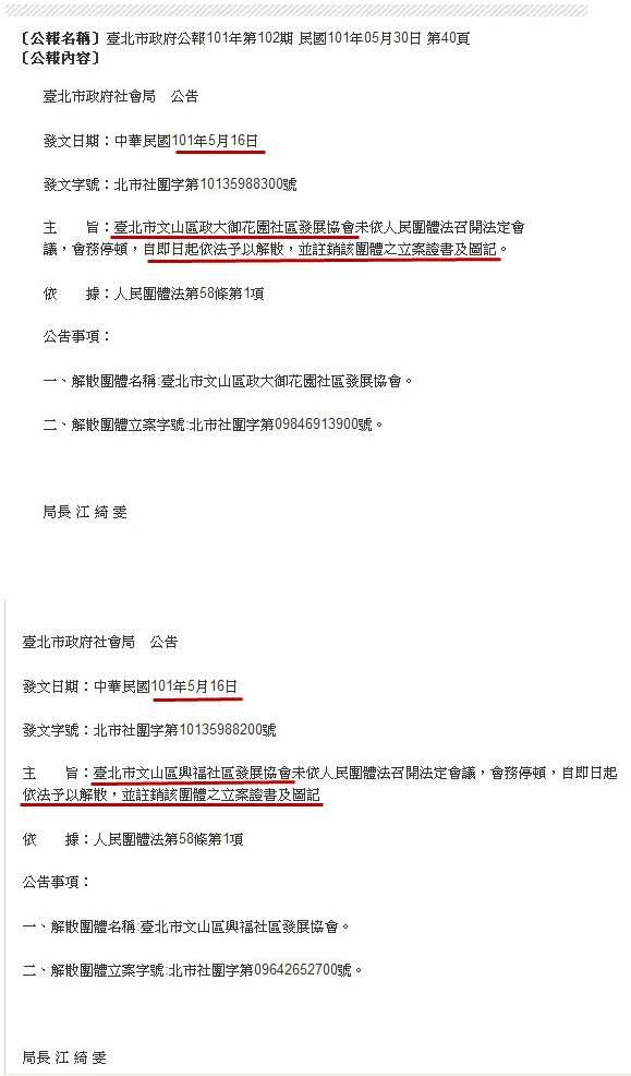 台北市文山區政大御花園社區發展協會依法予以解散-2012.05.16