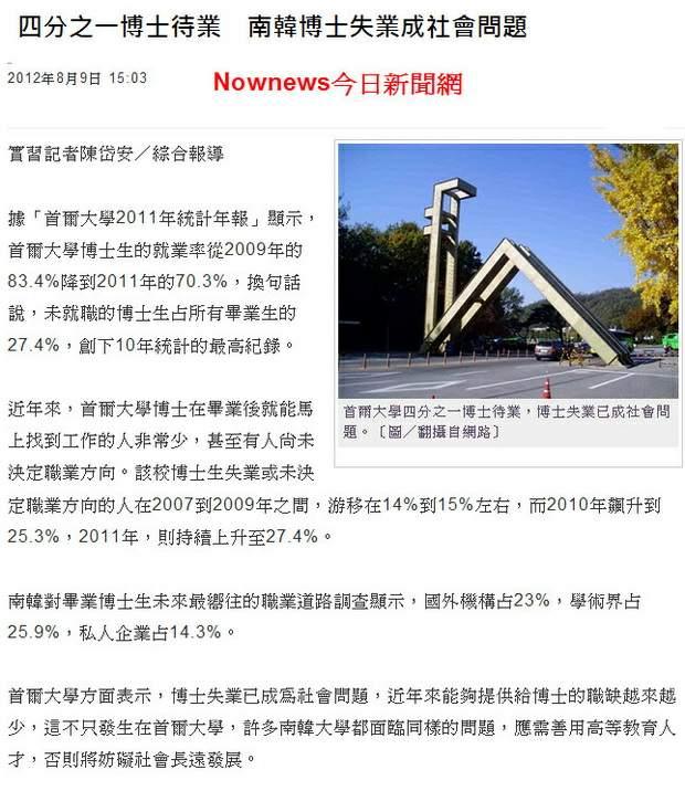 四分之一博士待業 南韓博士失業成社會問題-2012.08.09