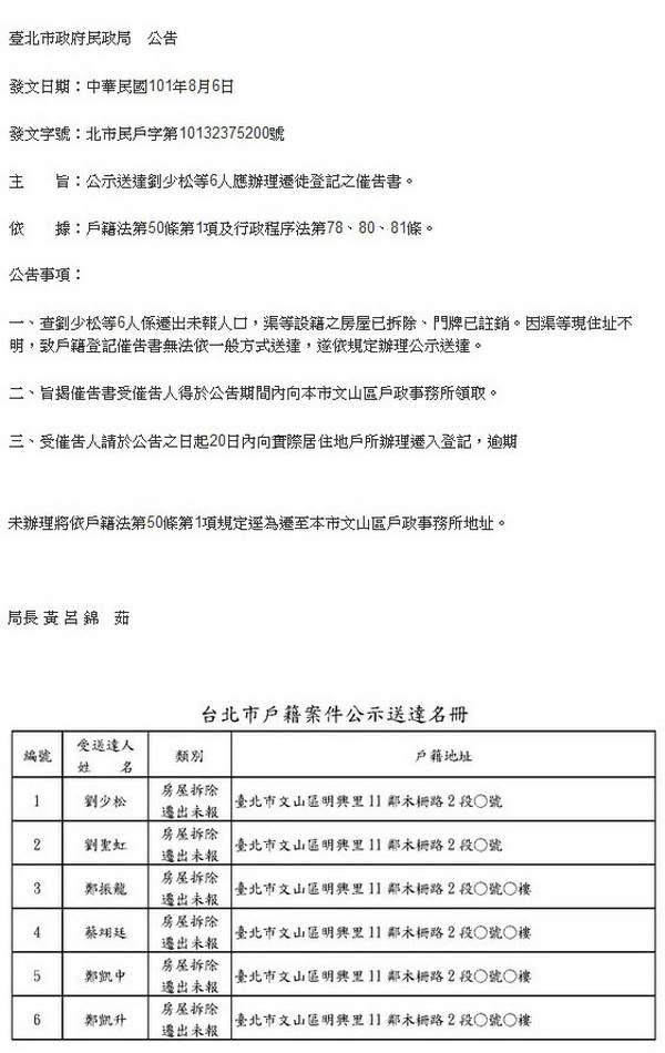 公示送達劉少松等6人應辦理遷徙登記之催告書-2012.08.06-01