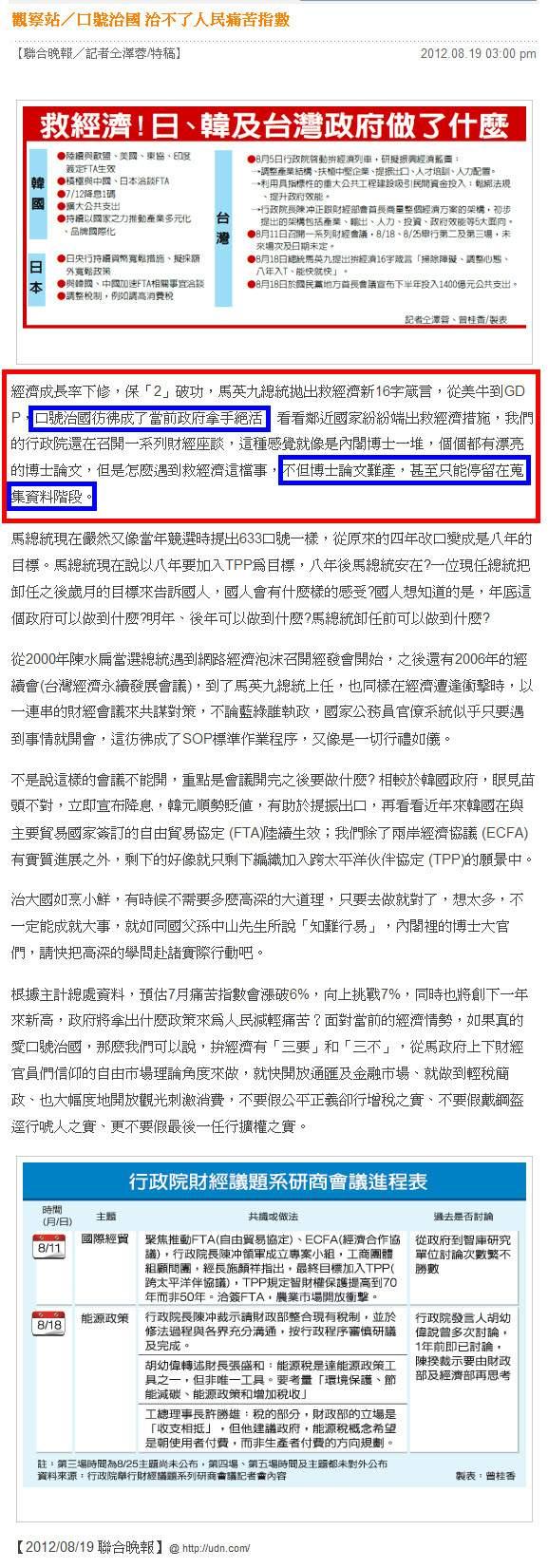 觀察站/口號治國 治不了人民痛苦指數  痛苦指數續攀高-2012.08.19