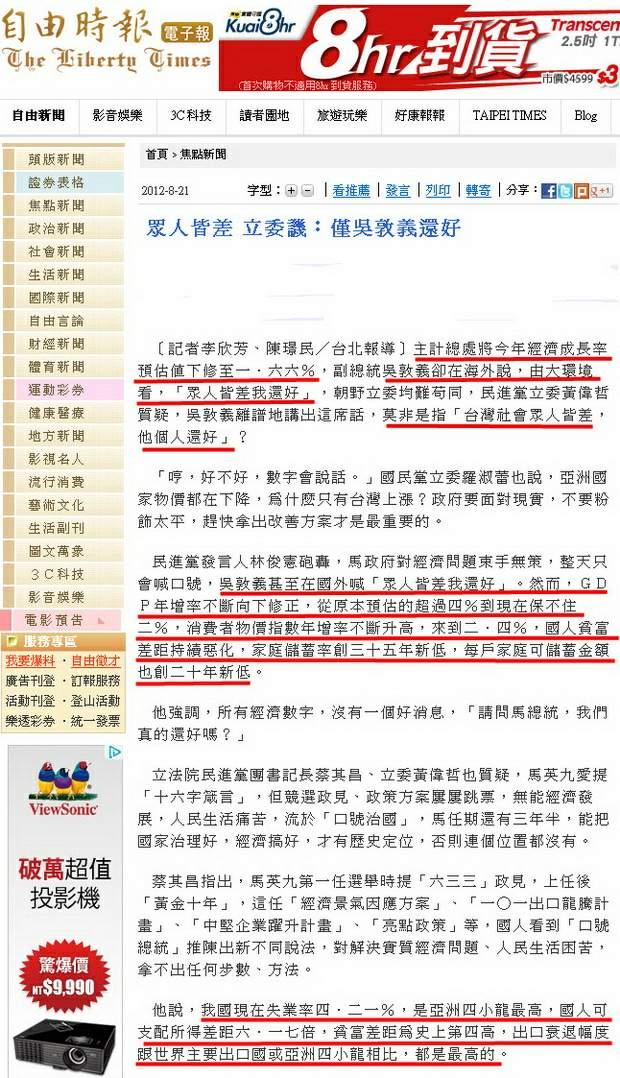 眾人皆差 立委譏︰僅吳敦義還好 -2012.08.21