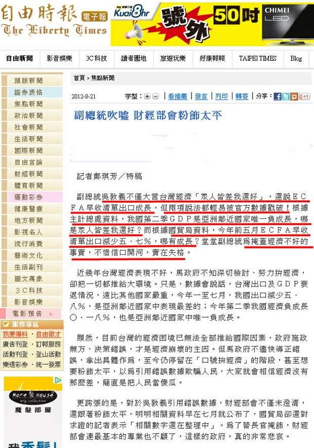 副總統吹噓 財經部會粉飾太平-2012.08.21