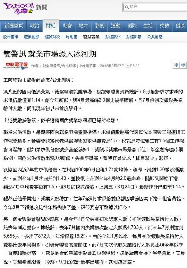 雙警訊 就業市場恐入冰河期-2012.08.27-01
