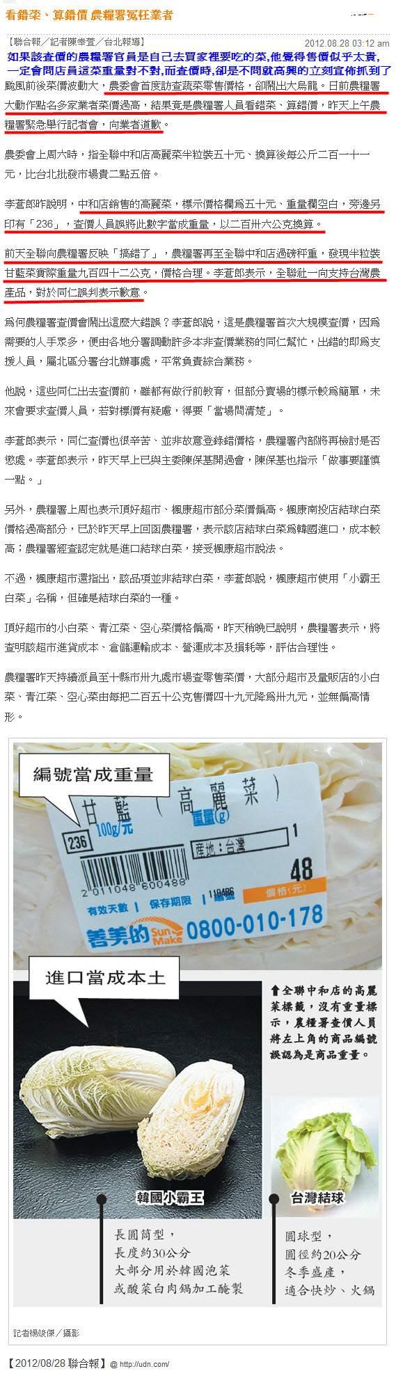 看錯菜、算錯價 農糧署冤枉業者-2012.08.28