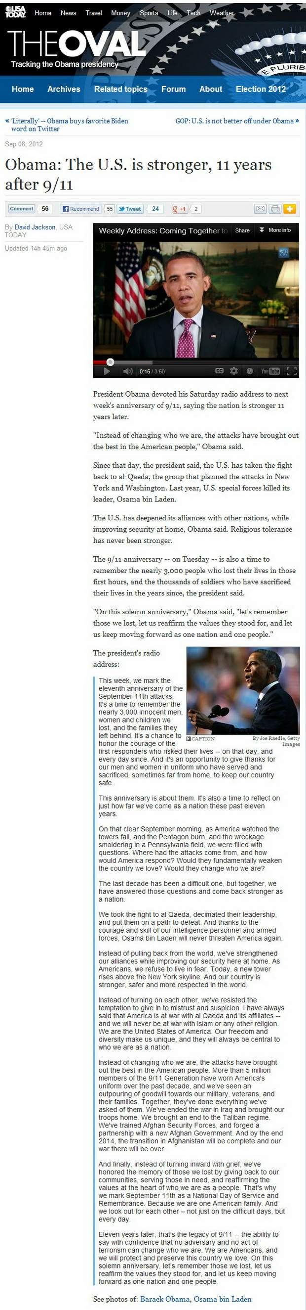 Obama:The U.S. is stronger, 11 years after 9/11-2012.09.08