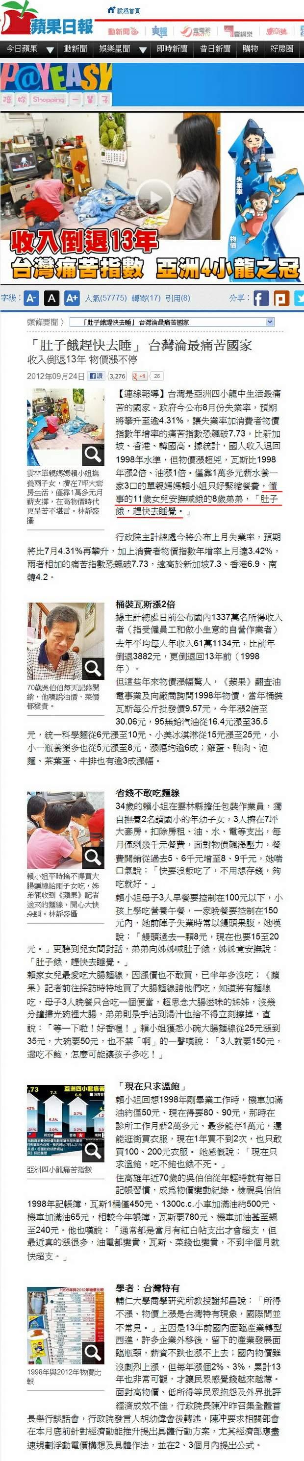 「肚子餓趕快去睡」 台灣淪最痛苦國家-2012.09.24-01