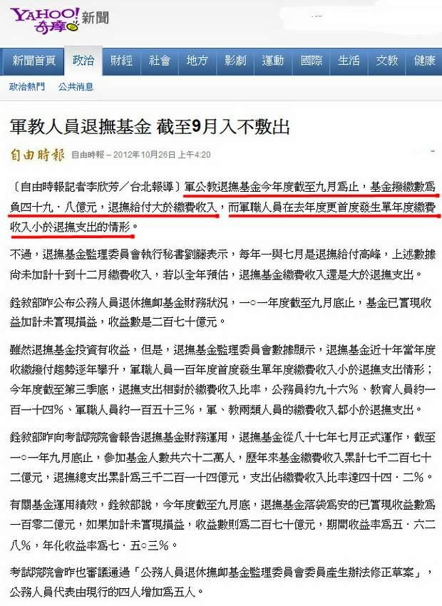 軍教人員退撫基金 截至9月入不敷出-2012.10.26