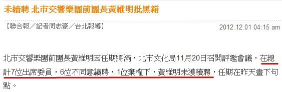 未續聘 北市交響樂團前團長黃維明批黑箱-2012.12.01-02