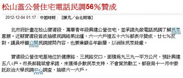松山蓋公營住宅電話民調56%贊成-2012.12.04-02