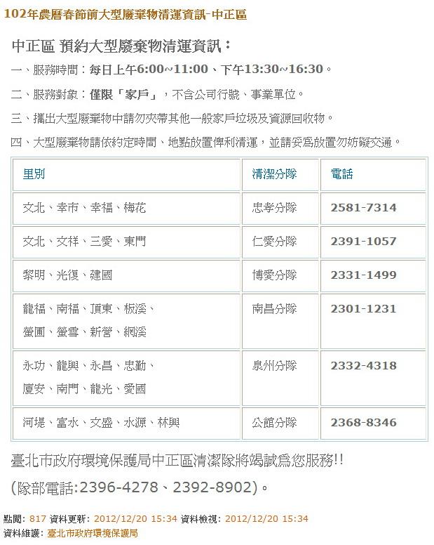 中正區-102年農曆春節前大型廢棄物清運資訊