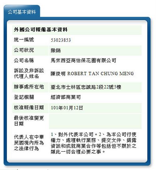 馬來西亞商怡保花園有限公司代表人辦事處基本資料