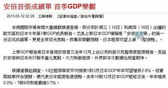 安倍首張成績單 首季GDP樂觀-2013.05.12-02