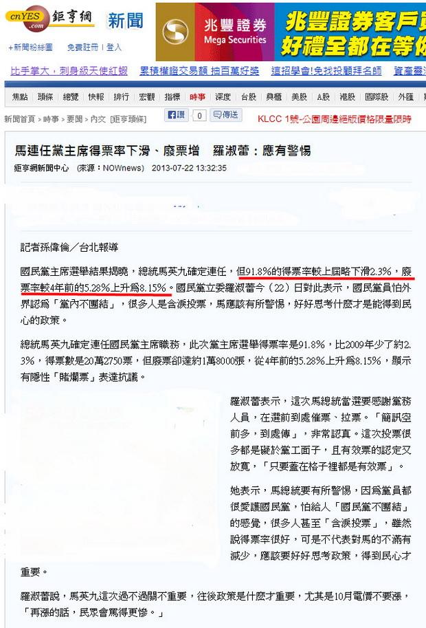馬連任黨主席得票率下滑、廢票增 羅淑蕾:應有警惕-2013.07.22.jpg