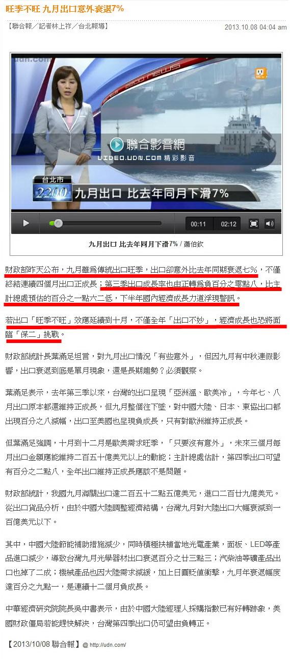 旺季不旺 九月出口意外衰退7%-2013.10.08.jpg