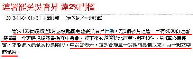 連署罷免吳育昇 達2%門檻-2013.11.04-02.jpg