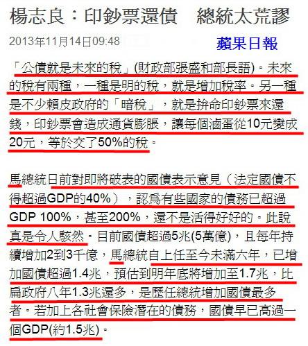 楊志良:印鈔票還債 總統太荒謬-2013.11.14-02.jpg
