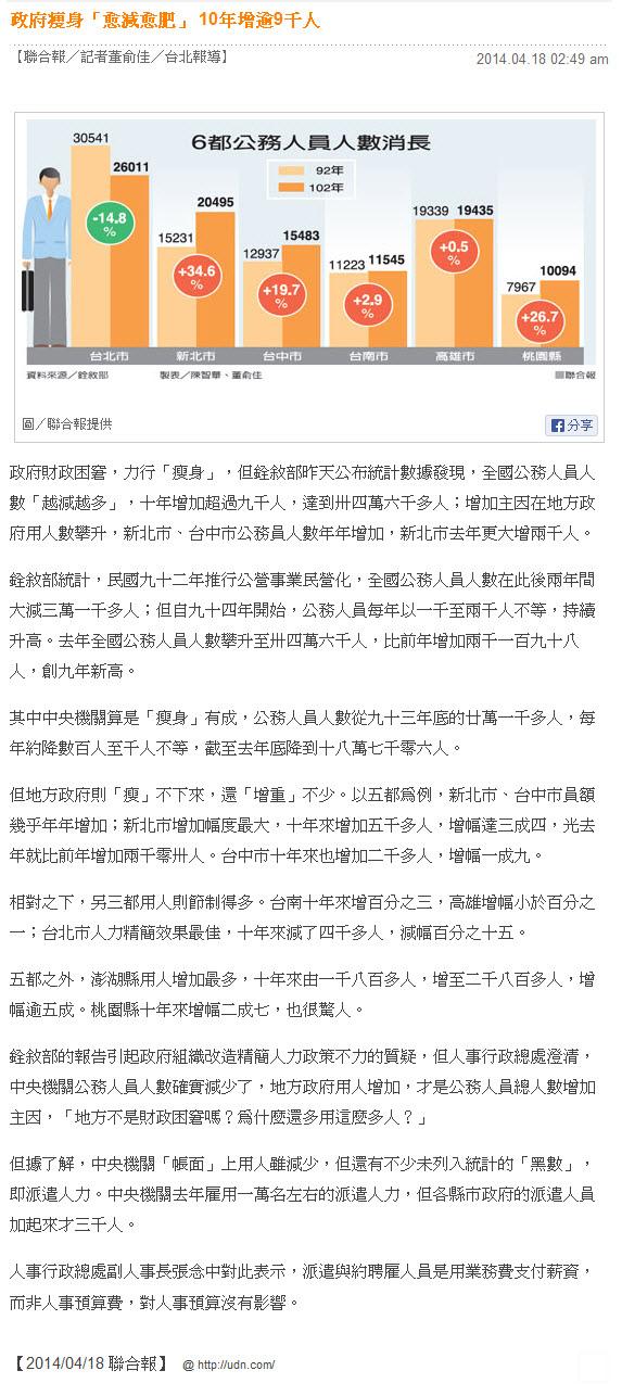 政府瘦身「愈減愈肥」 10年增逾9千人  -2014.04.18.jpg