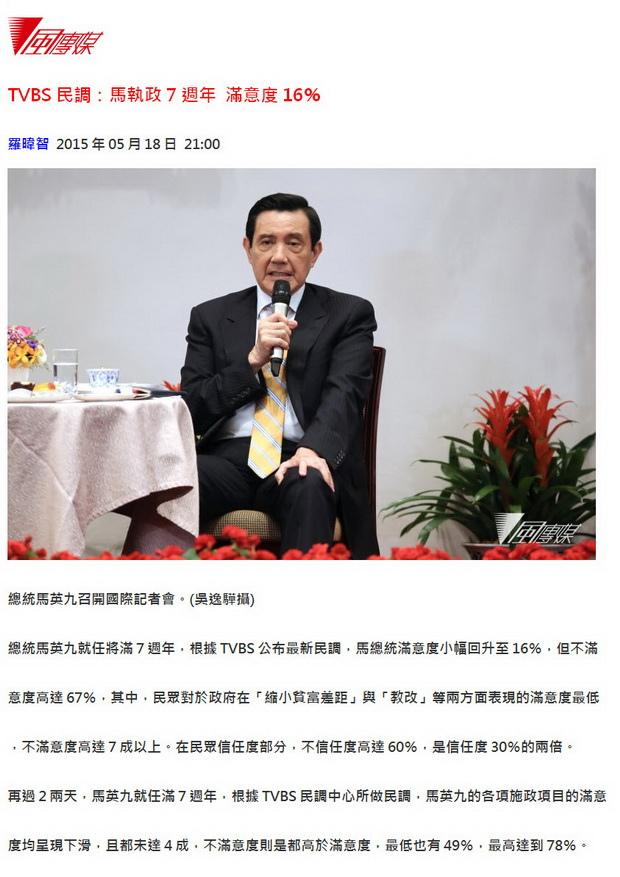 TVBS民調:馬執政7週年 滿意度16%-2015.05.18-2.jpg