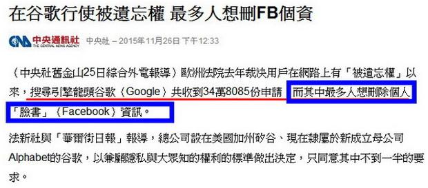 在谷歌行使被遺忘權 最多人想刪FB個資-2015.11.26-02.jpg