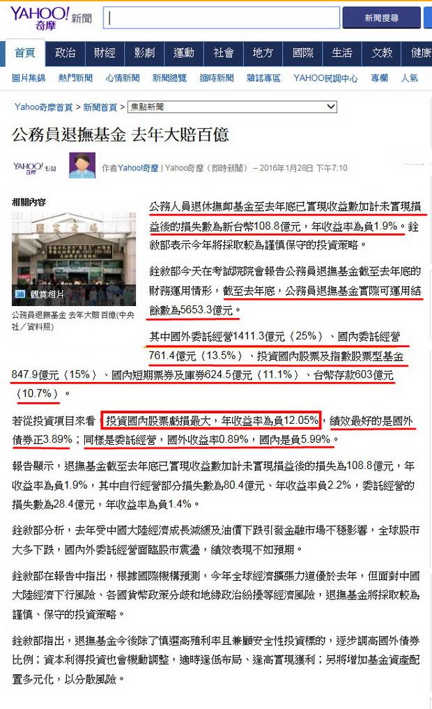 公務員退撫基金 去年大賠百億-2016.01.28.jpg