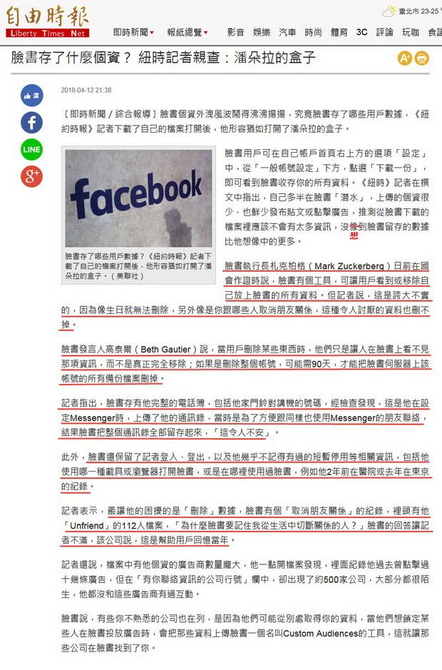 臉書存了什麼個資? 紐時記者親查:潘朵拉的盒子 -2018.04.12.jpg