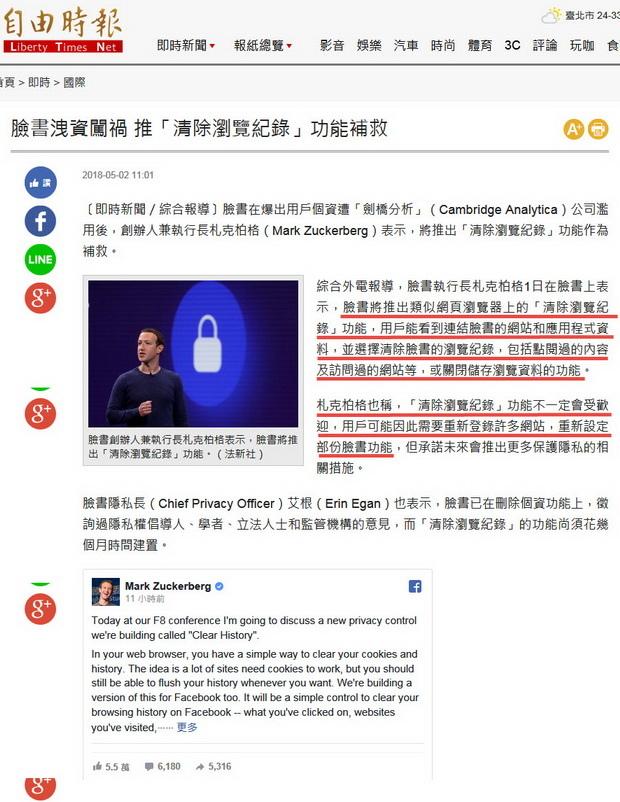 臉書洩資闖禍 推「清除瀏覽紀錄」功能補救 -2018.05.02.jpg