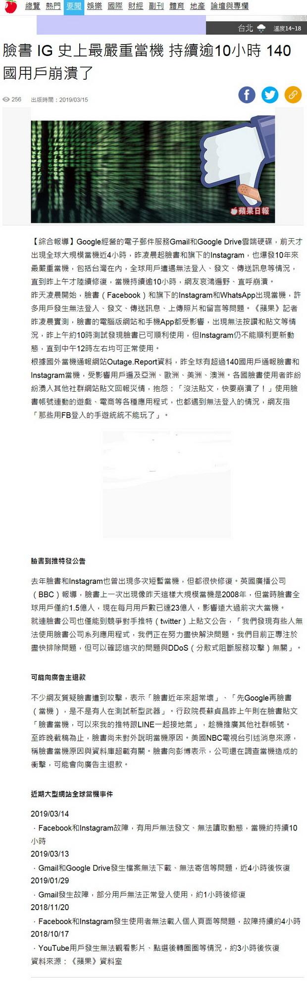 臉書 IG 史上最嚴重當機 持續逾10小時 140國用戶崩潰了-2019.03.15.jpg